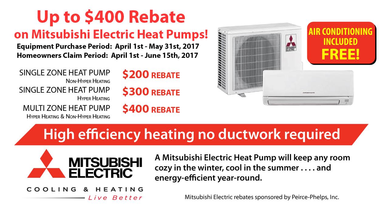 Rebates on Mitsubishi Air Conditioning Ductless, Duct-free, Mini-split in Philadelphia, PA, NJ & DE