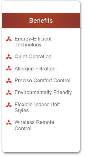 Mitsubishi - Indoor unit benefits for Duct-free, wall unit systems that provide air conditioning and heating